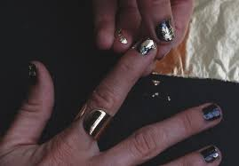 take metallics up a notch with gold leaf nails