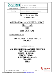 dm manual doshion ion exchange membrane