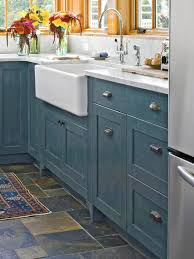 Vintage Blue Cabinets Kitchen Flooring Ideas