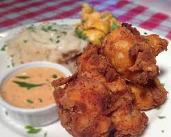 spicy southern fried cauliflower and delta dipping sauce with