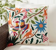 Pottery Barn Seat Cushions Vibrant Embroidered Indoor Outdoor Pillow Multi Pottery Barn