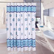 Fish Curtains Bathroom Shower Curtain Blue Sea Fish Printing Toilet Partition