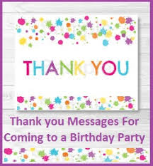 birthday thank you notes thank you messages thank you messages for attending birthday party