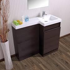 aston right hand dark oak bathroom white basin vanity unit