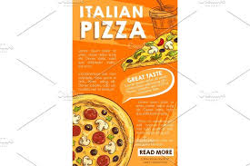 vector poster of iltalian pizza sketch fast food illustrations