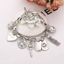 silver bracelet with heart pendant images 2015 hot alloy key bracelets with love heart gem 925 sterling jpg