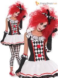 ladies harlequin jester costume wig halloween circus womens