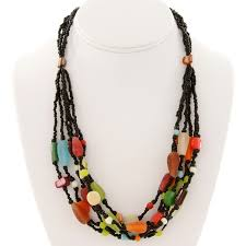 colored bead necklace images Fair trade java beaded necklace dramatic contrast jpg