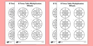 8 times table multiplication wheels activity sheet pack times