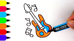 how to draw a guitar for kids coloring musical instrument pages
