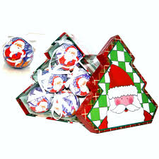 Christmas Decoration Storage Boxes Uk santa christmas baubles tree shaped storage gift box set of 12