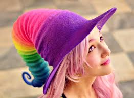 halloween costume hat rainbow witch hat wizard
