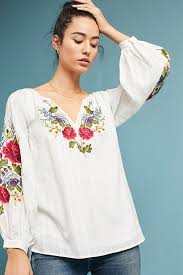 peasant blouse mira embroidered peasant blouse anthropologie