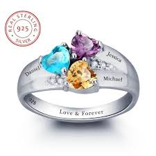 birthstone mothers ring personalized engrave 3 heart birthstone mothers rings 925 sterling