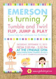 Olympic Invitation Cards Printable Gymnastics Invitation Any Colors Balance Cartwheel
