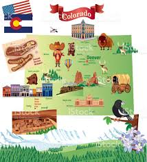 Maps Colorado Springs by Cartoon Map Of Colorado Stock Vector Art 487554450 Istock