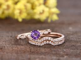 amethyst wedding rings 1 carat amethyst wedding ring set 14k gold diamond