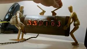 Buy Clock by Nixie Tube Clock Woodcutter Woodcutters Carry Log To Sell And