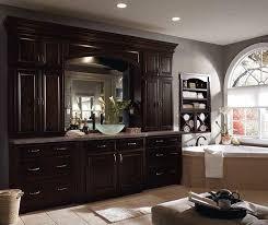 Dark Wood Cabinets In Traditional Bathroom Diamond - Dark wood bathroom cabinets