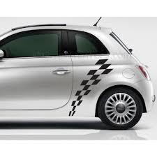 Custom Car Flag Fiat 500 Check Checker Flag Custom Side Graphic Decal