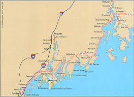 map of maine cities where to saltwater fish in central maine south portland to blue