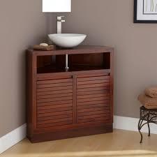 dark brown small real wood corner vanity with storage drawers