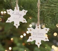 personalized ceramic metallic snowflake ornaments pottery barn