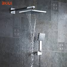 compare prices on white rain shower online shopping buy low price bakala 8 inch bathroom rain shower faucets white abs head hand shower for bath showering system