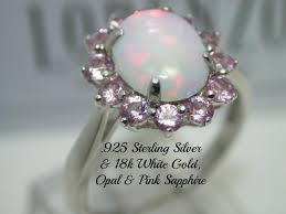 pink sapphire rings images 925 sterling silver 18k white gold opal pink sapphire ring jpg