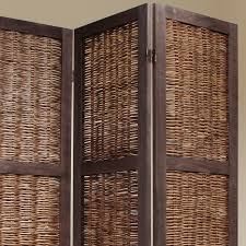 privacy screen room divider brown 3 panel wood frame wicker room divider privacy screen