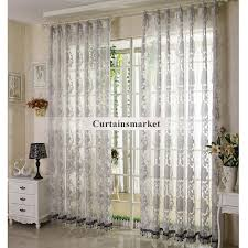Patterned Sheer Curtains Floral Living Room Grey Patterned Sheer Curtains