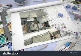 3d rendering sketch book modern kitchen stock illustration