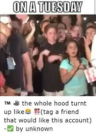 Turnt Meme - onatuesday the whole hood turnt up like tag a friend that