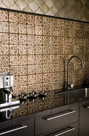 l shape kitchen decoration using dark brown blue patterned