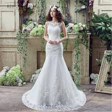 scoop neck lace wedding dress robe mariage modest lace mermaid wedding dresses 2018 open back