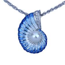 blue sterling silver necklace images Guy harvey nautilus necklace with pearl enamel sterling silver jpg