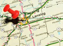 Map Of The State Of Michigan by London Uk 13 June 2012 Lansing City Marked With Red Pushpin