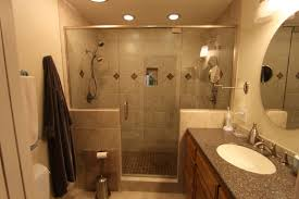 bathroom simple glass shower door design idea with brown wall dark
