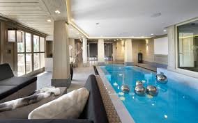 indoor swimming pool luxury ski chalet in courchevel 1850 france