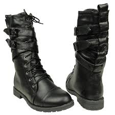 womens motorcycle style boots women u0027s mid calf cross strap buckle comfort lace up combat boots