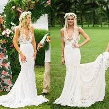 bohemian wedding dress boho wedding dresses v neck lace mermaid simple country illusion
