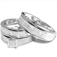 wedding set white gold trio wedding set mens womens wedding rings matching