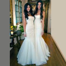 gorgeous white tulle mermaid long bridesmaid dresses for wedding