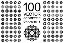 geometric ornaments set 100 vector spirographs royalty free