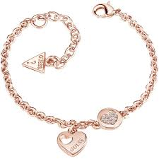 gold guess bracelet images Ladies guess jewellery rose gold plated heart devotion bracelet jpg