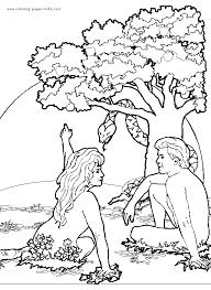 adam eve apple tree color bible story color