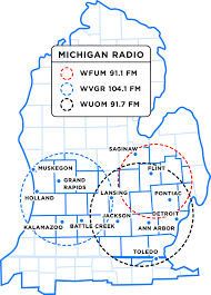 Map Of State Of Michigan by Michigan Radio Listening Area Michigan Radio Sponsorship