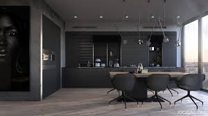 matte black kitchen design with long freestanding island and