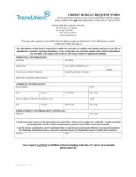 trans union credit bureau fillable credit bureau request form transunion canada fax