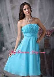 aqua blue empire strapless knee length ruched bridesmaid gown
